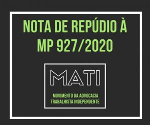 NOTA DO MATI DE REPÚDIO À MP 927/2020