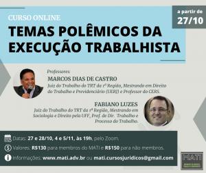 """MATI oferece novo curso online para advocacia: """"Temas polêmicos da Execução Trabalhista"""""""